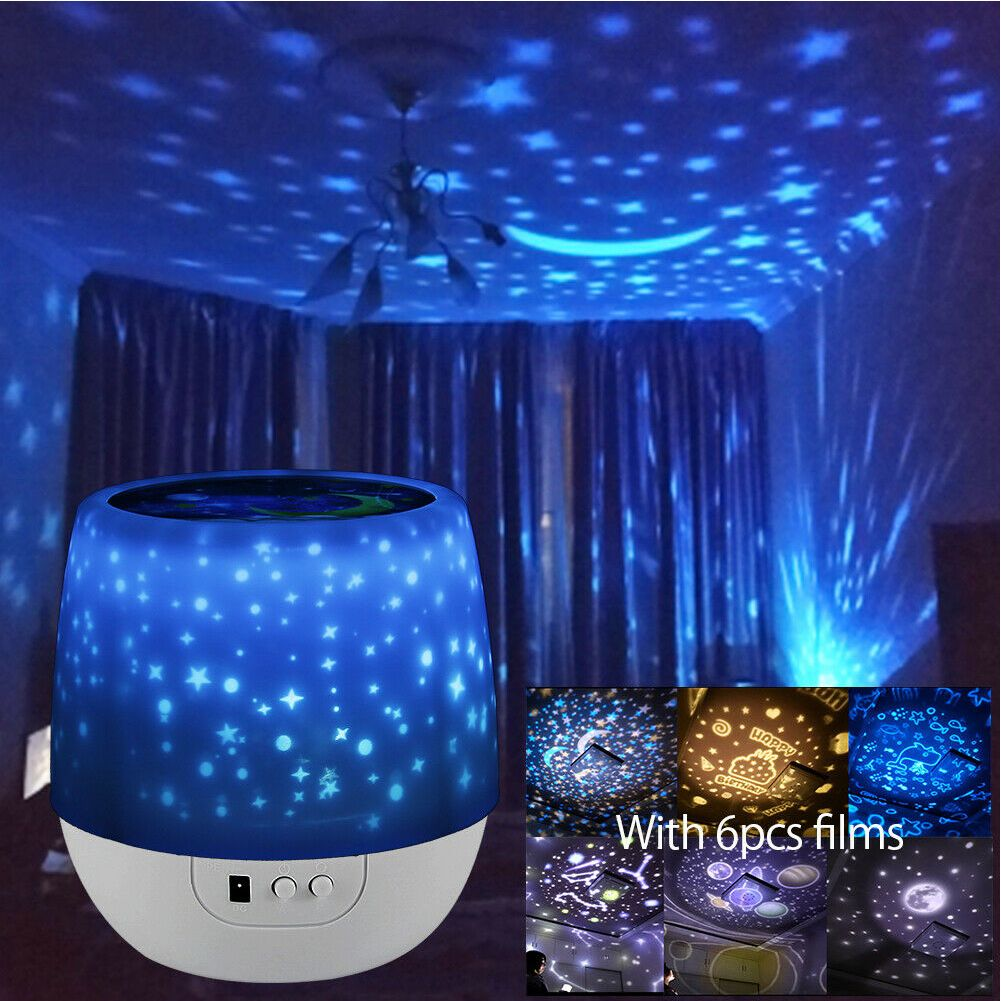Kids Star Night Lights Led Rotating Starry Projector Nursery Lamps Xmas GIFT