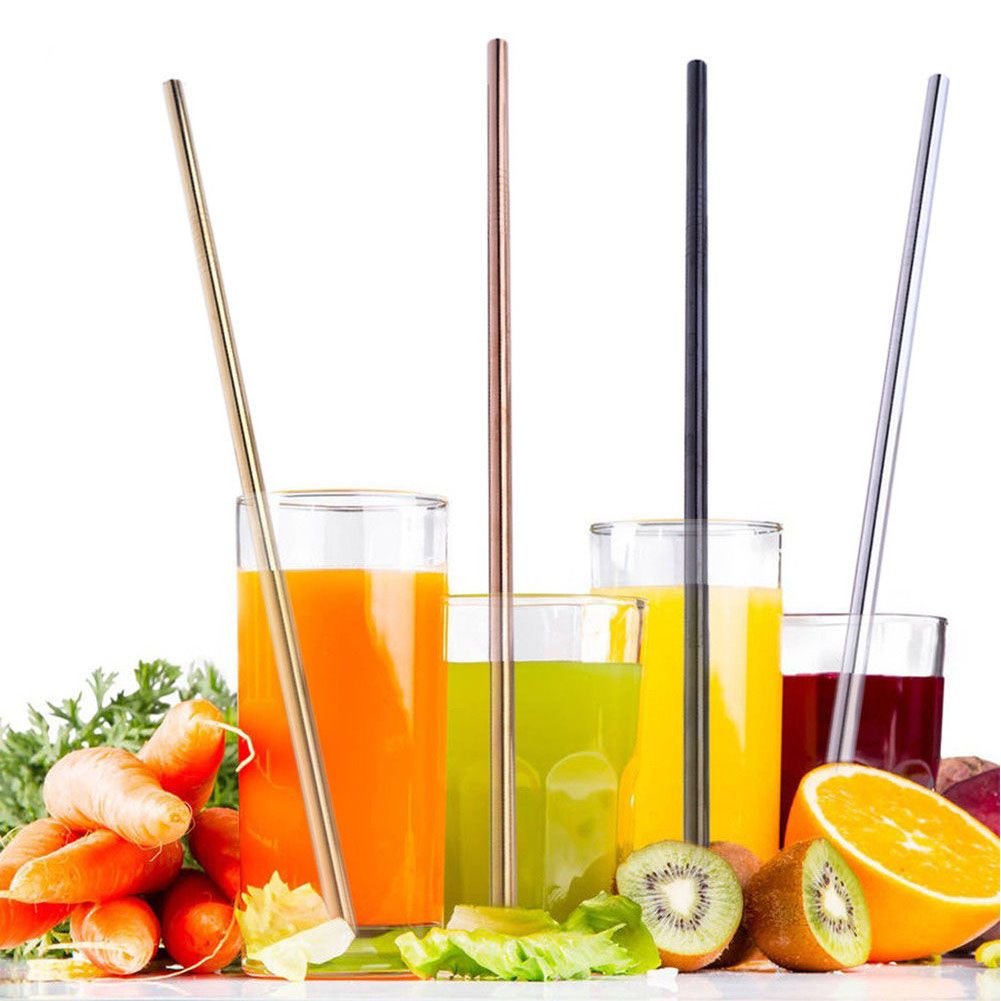 Stainless Steel Drinking Straws Straight Bent Reusable Filter