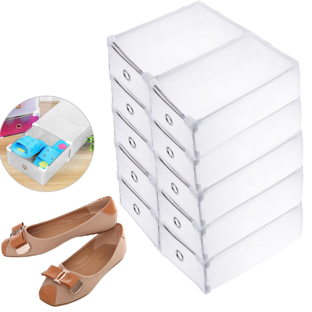 10 Pieces Plastic Foldable Shoe Storage Boxes Organizer