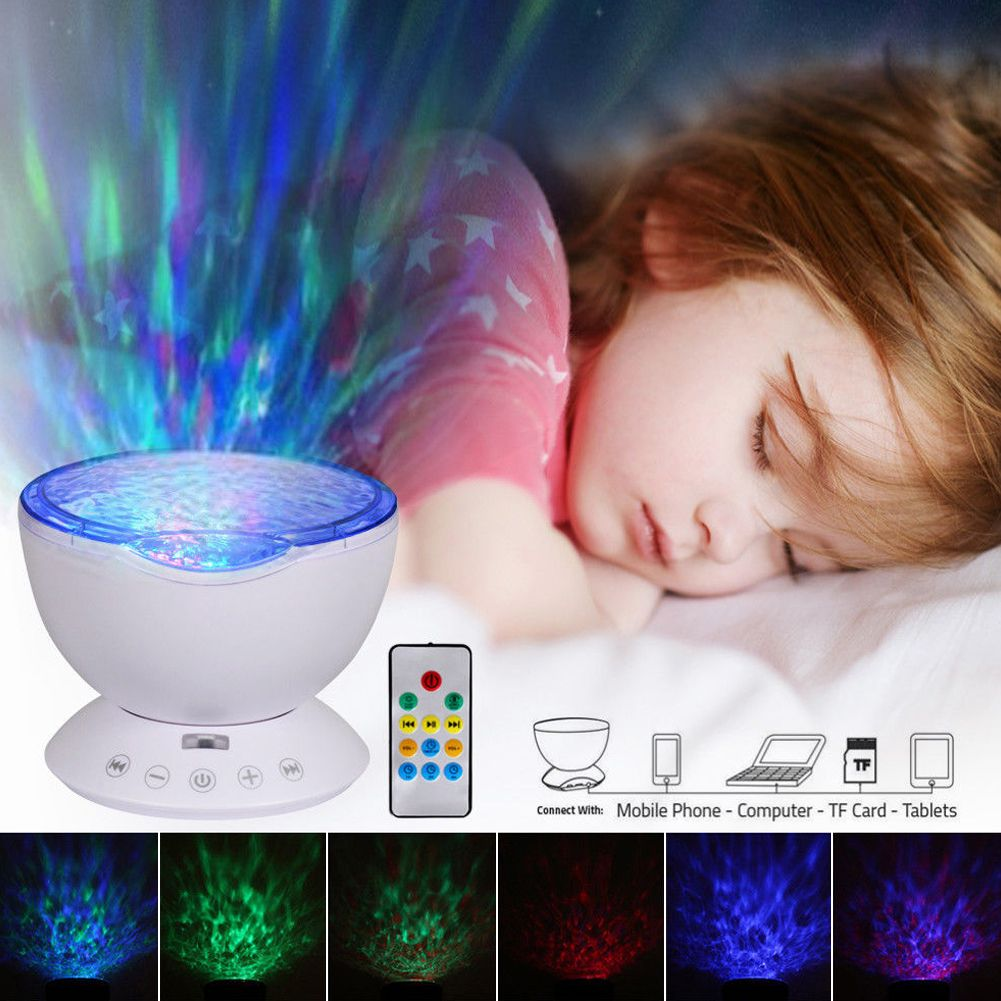 Umiwe Remote Control Ocean Wave Projector Night Light Lamp with Built-in Music
