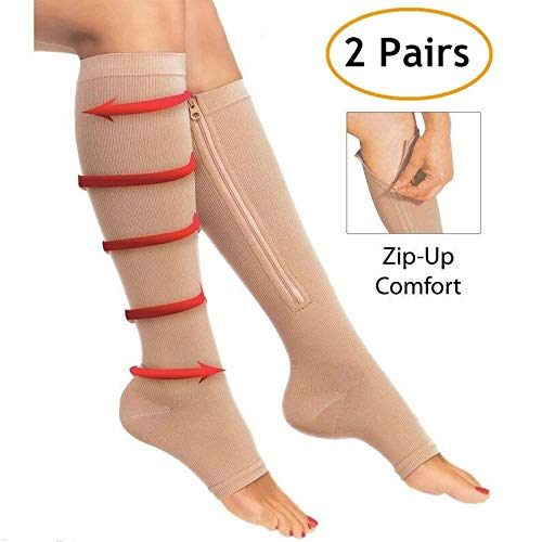 2 Pair Compression Zipper Socks Leg Support Open Toe Knee Stockings