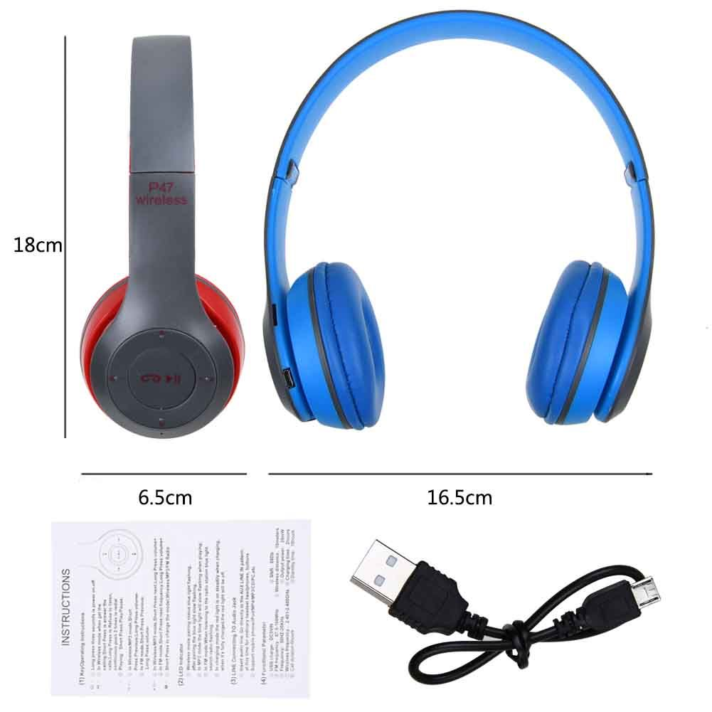 Foldable Wireless Bluetooth Stereo Headset Headphones with Microphone