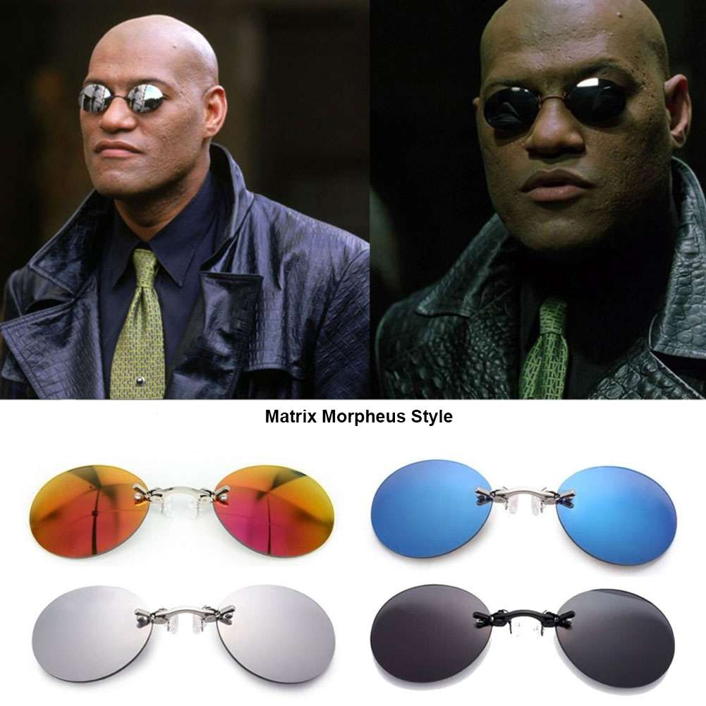 The Matrix Morpheus Style Round Rimless Sunglasses Clamp Nose