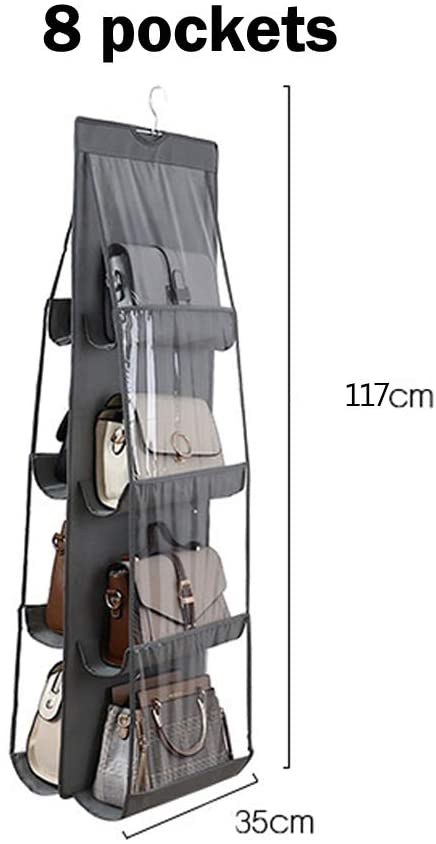 8 Pockets Hanging Handbag Organizer For Closet