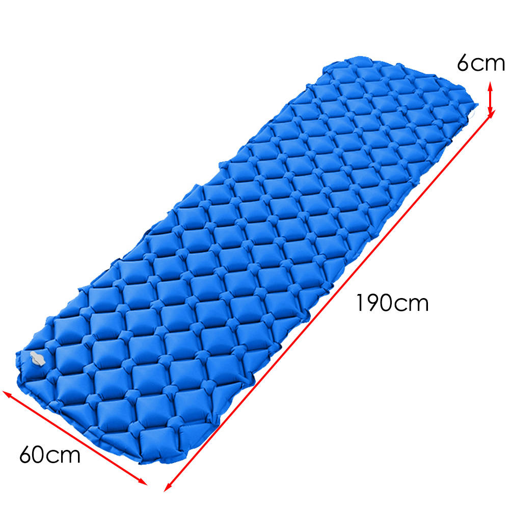 Outdoor Inflatable Mat Pad with Pillow Lightweight Folding Camping Air Mattress Tent Sleeping Bag