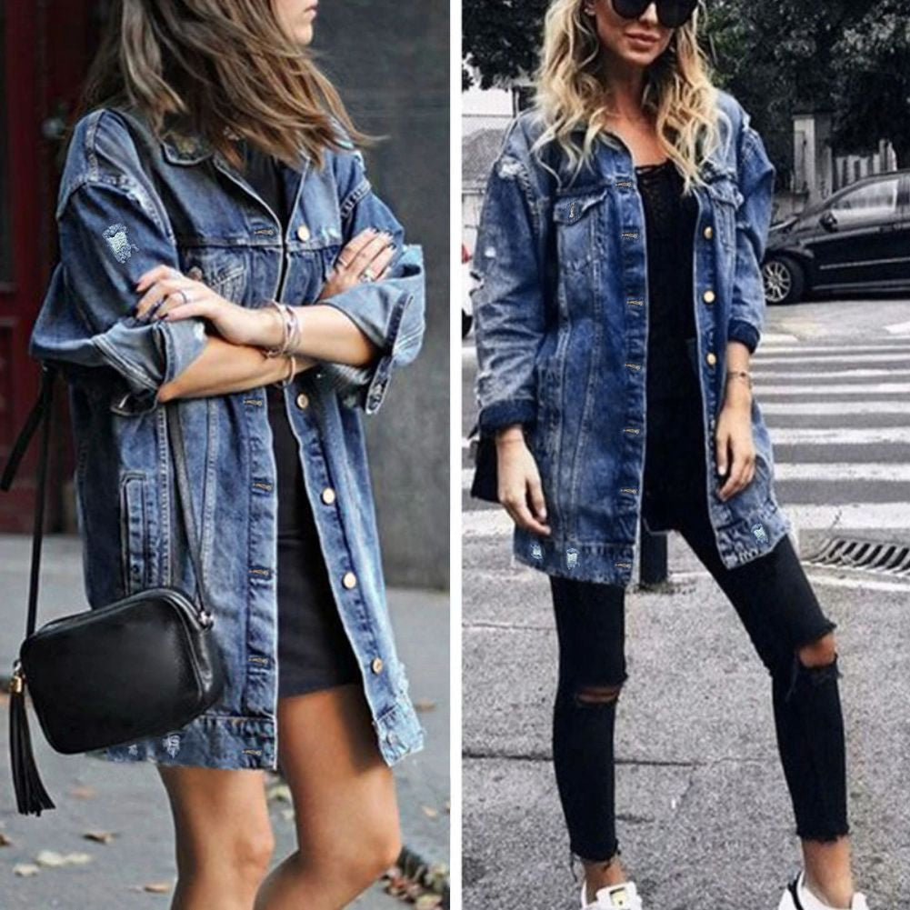 Women Distressed Denim Fall Ripped Outwear Jacket Coat