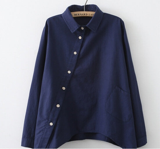 Long Sleeve Turn-down Collar Simple Loose Asymmetry Shirt