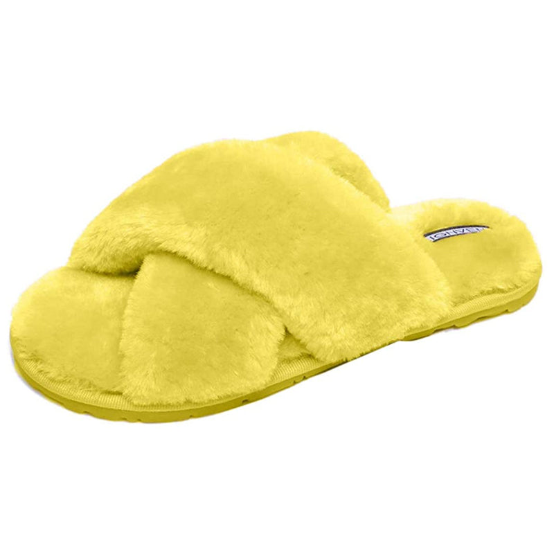 Women Winter Cross Band Soft Faux Fur House Indoor Outdoor Slippers
