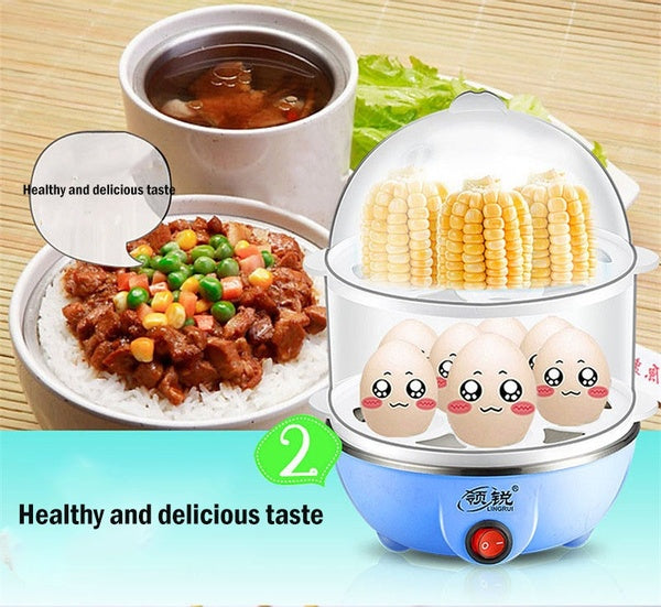 Mini multi-function Double Egg Cooker Automatic power-off Breakfast Egg Boiler