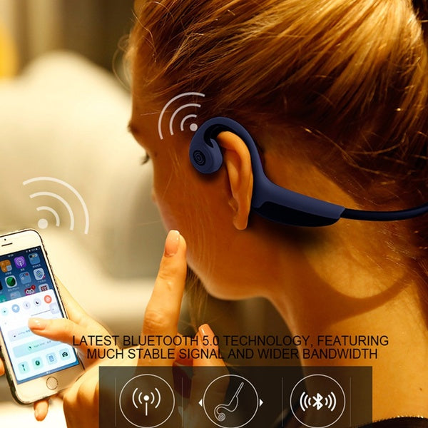 Waterproof Bone Conduction Stereo Hands-free Bluetooth Headphones with Mic