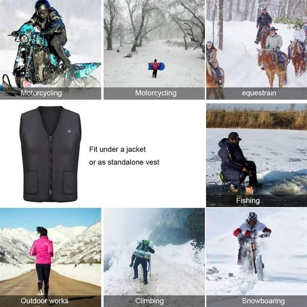 Electric USB Heated Warm Vest Gilet, Lightweight 5V 3 Heating Levels Waterproof Windproof USB Charging Electric Heated Vest with Indicator Light and Power Switch for Outdoor Riding Skiing Fishing
