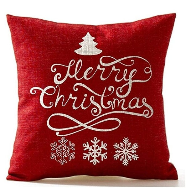 "4 Pack 18""* 18 ""Merry Christmas Gifts Flax Throw Pillow Case Cushion Cover"