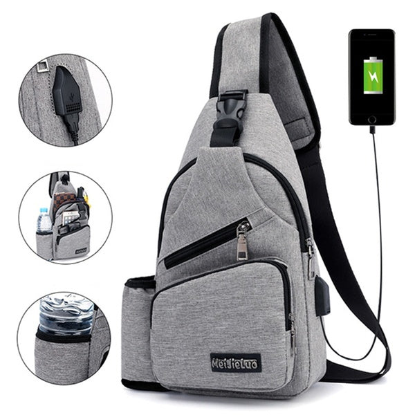 Large Capacity Casual Outdoor Travel USB Charging Port Sling Chest Crossbody Bag