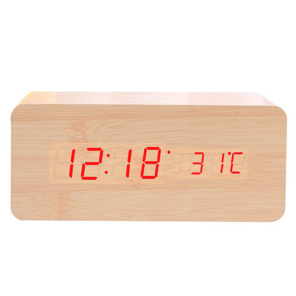 Wooden LED Digital Alarm Clock with Wireless Charging Pad