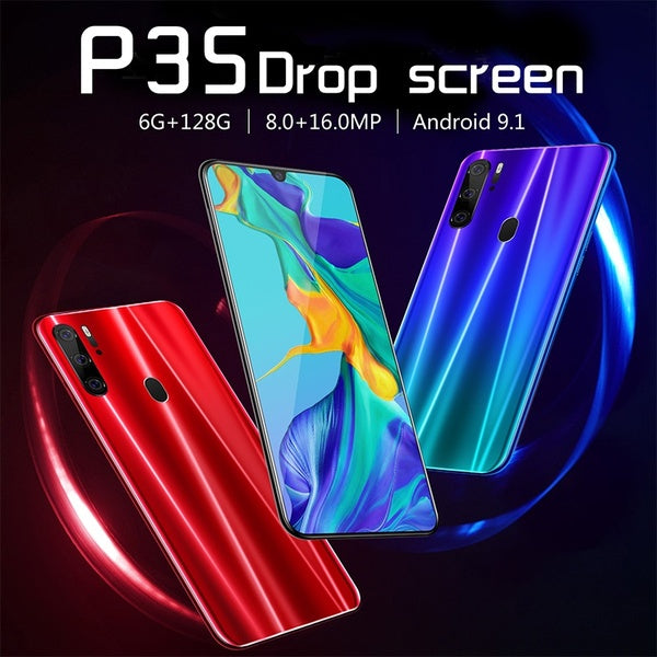 P35 Android 9.1 6G+128G Water Drop Screen Full Screen Ultra-thin Smart 4G Mobile 6.3 Inch Smartphone Face/Fingerprint Unlock