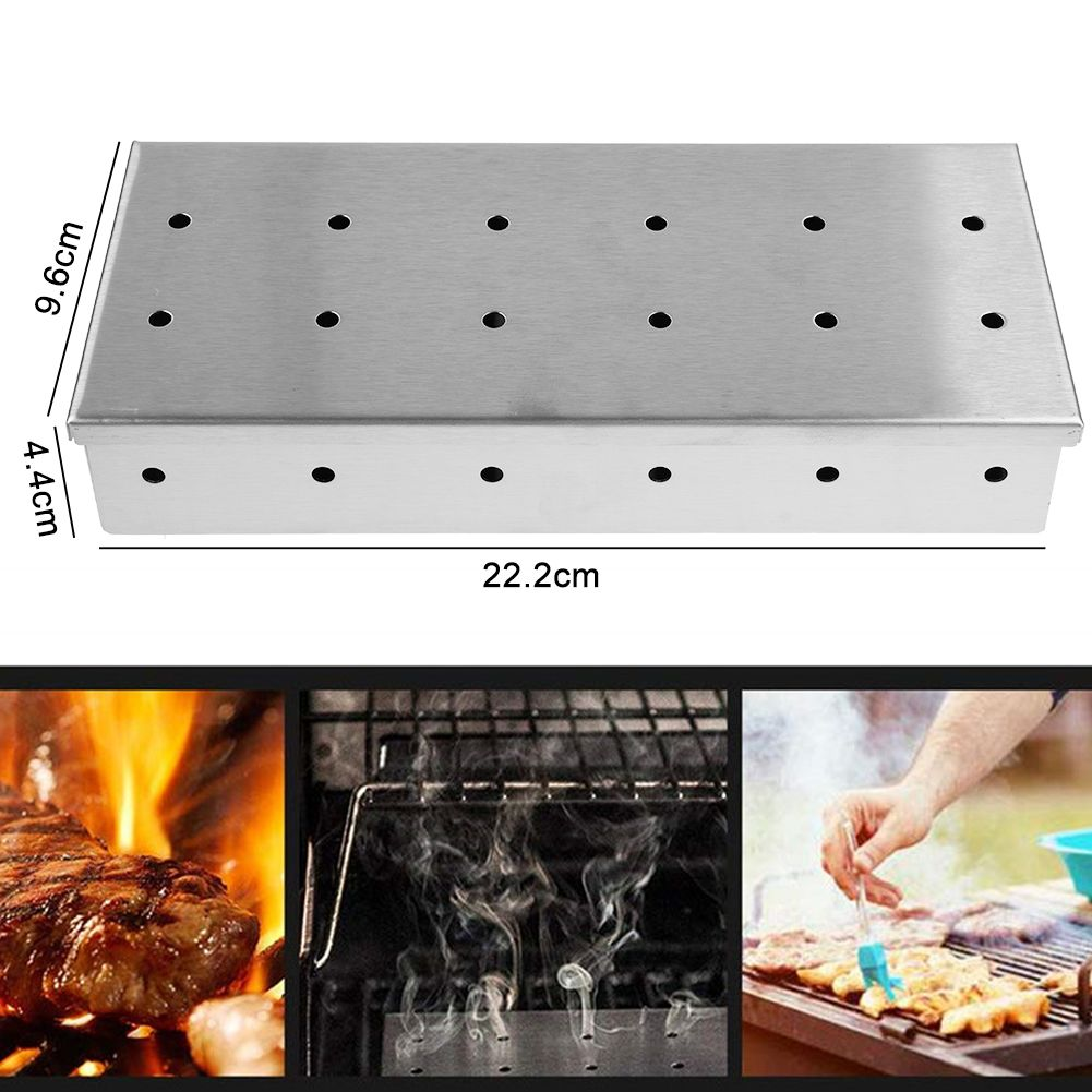 Portable Stainless Steel Wood Chip BBQ Smoker Box
