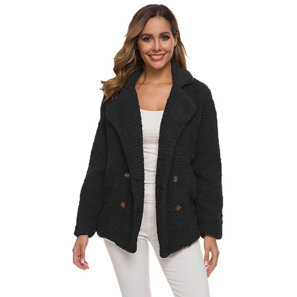 Fashion Solid Double-breasted Jacket Teddy Coat