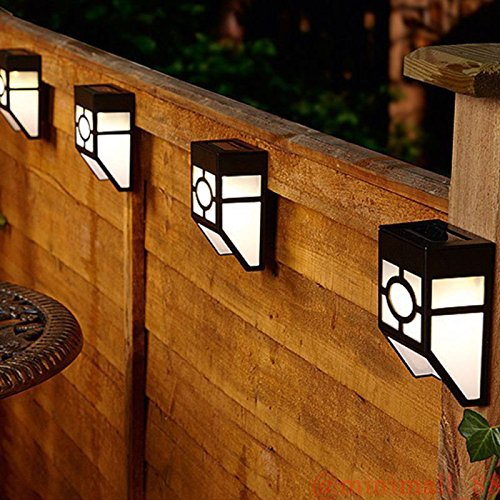 4 Pack Modern Solar Powered LED Outdoor Fences Mounted Wall Lights