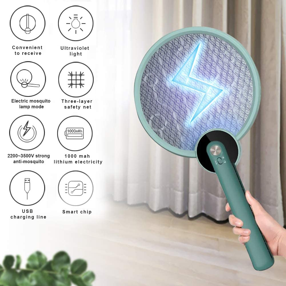 2 in 1 Foldable Electric Mosquitoes Swatter UV Light Mosquitoes Killer