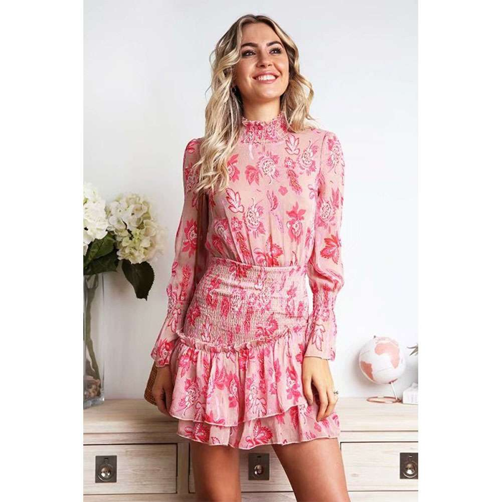 Spring Turtleneck Floral Chiffon Dress With Ruffles