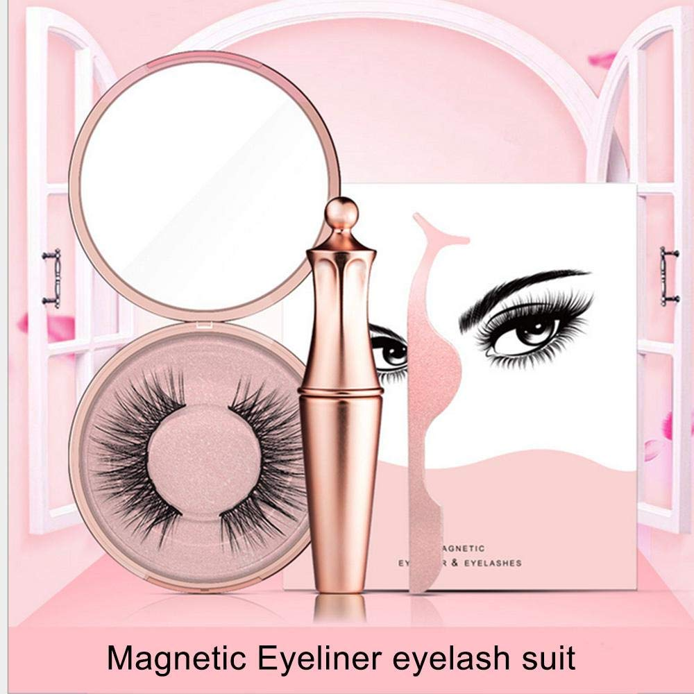 1 / 4 / 5 Pairs Magnetic Eyelashes With Waterproof Eyeliner Set