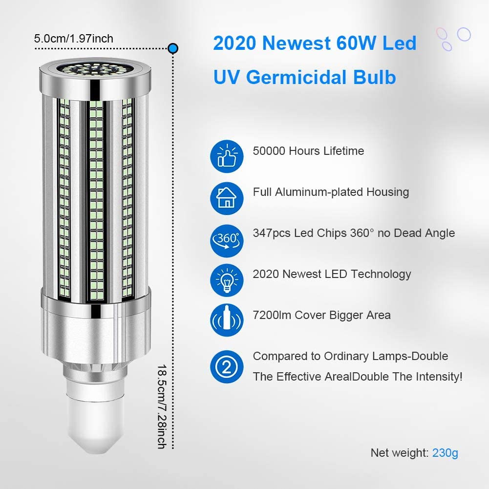 60W E27 UV Disinfection Lamp UVC Germicidal Led Corn Light Bulb