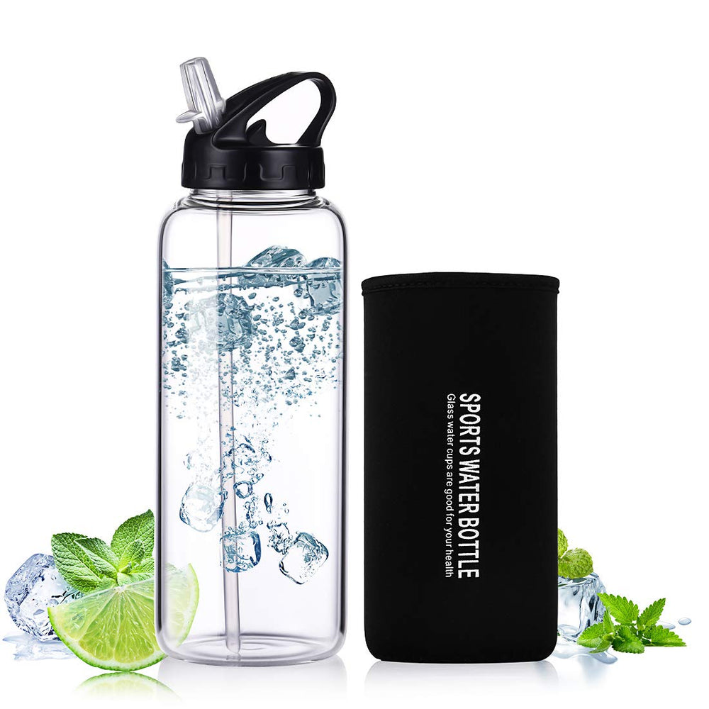 1L Portable Sport Travel Glass Water Bottle with Straw
