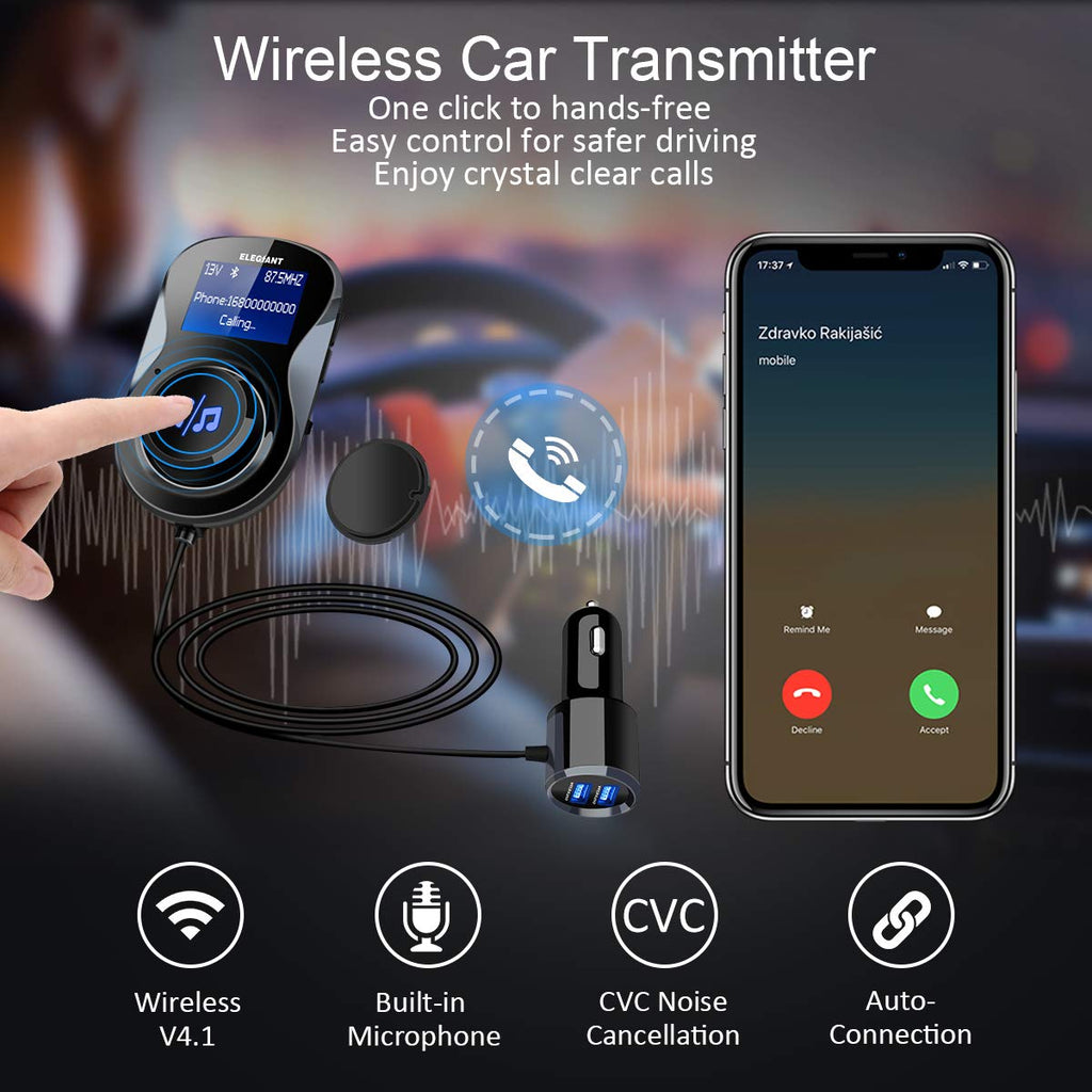 Bluetooth FM Transmitter Car Radio Adaptor Wireless Receiver Handsfree with Mic