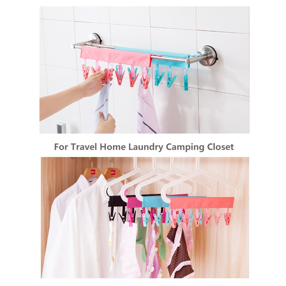 4 Pack Travel Portable Velcro Cloth Hanger Drying Rack with 6 Clips