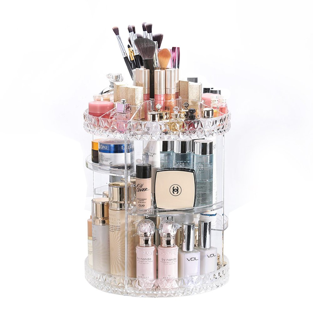 360° Rotating Acrylic Makeup Organizer Adjustable Multi-Function Cosmetic Storage