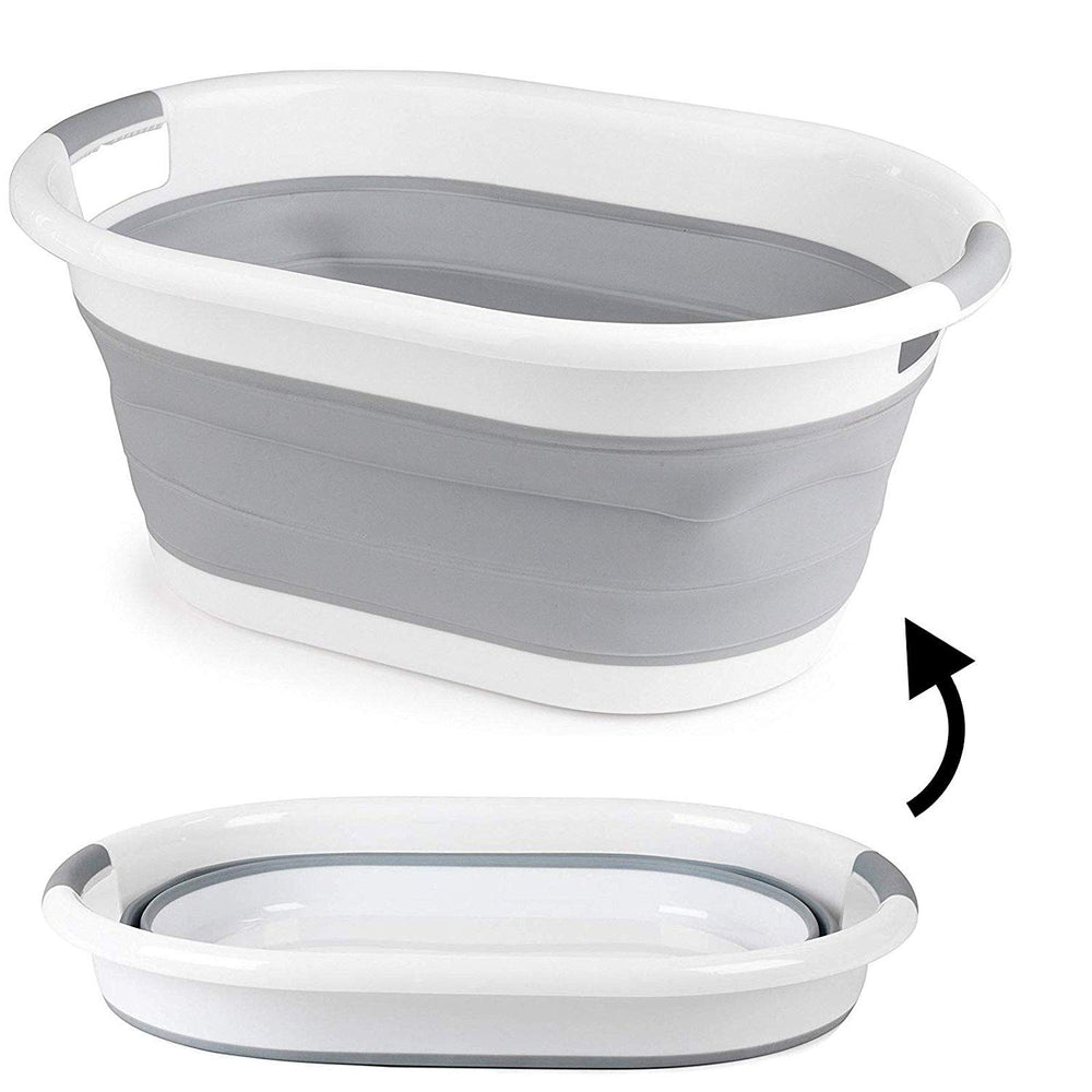 Foldable Oval Washing Basket Collapsible Laundry Clothes Basket