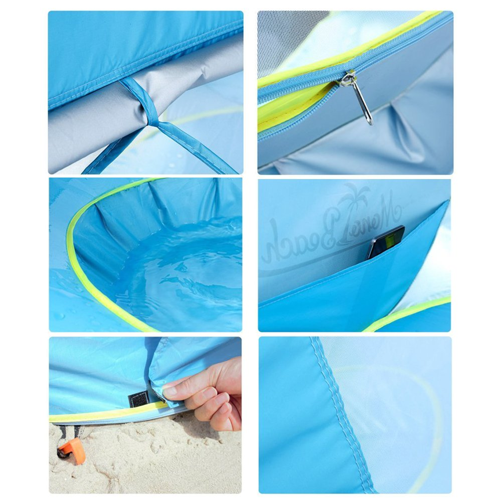Baby Pop Up Instant Beach Tent UV Sunshade with Pool