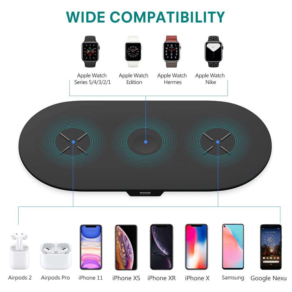 3 in 1 Wireless Charging Pad Charger Dock Station for AirPods , Apple Watch, Phone