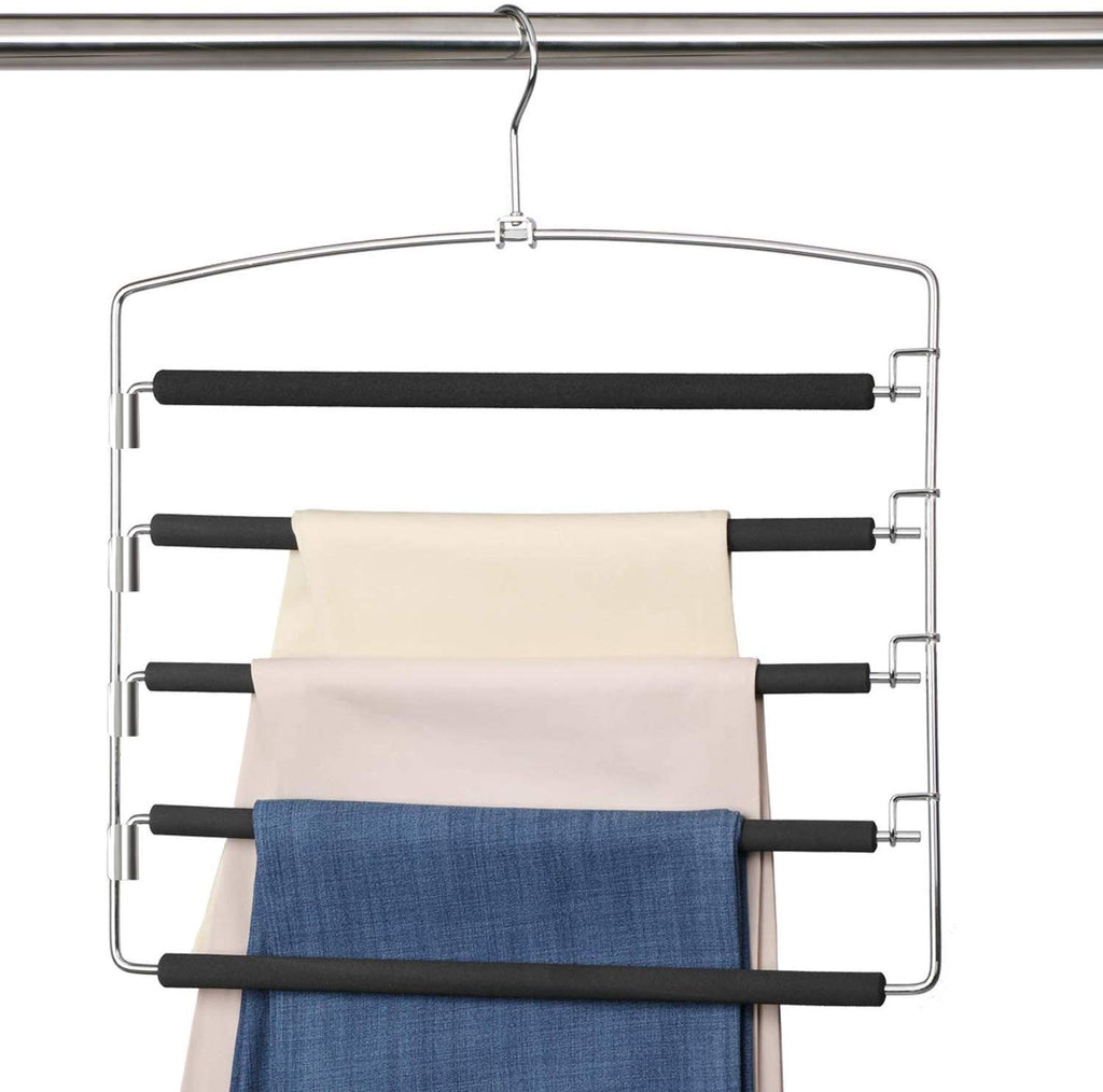 5 Layers Stainless Steel Pants Hangers Non-Slip Foam Padded Clothes Hangers Storage