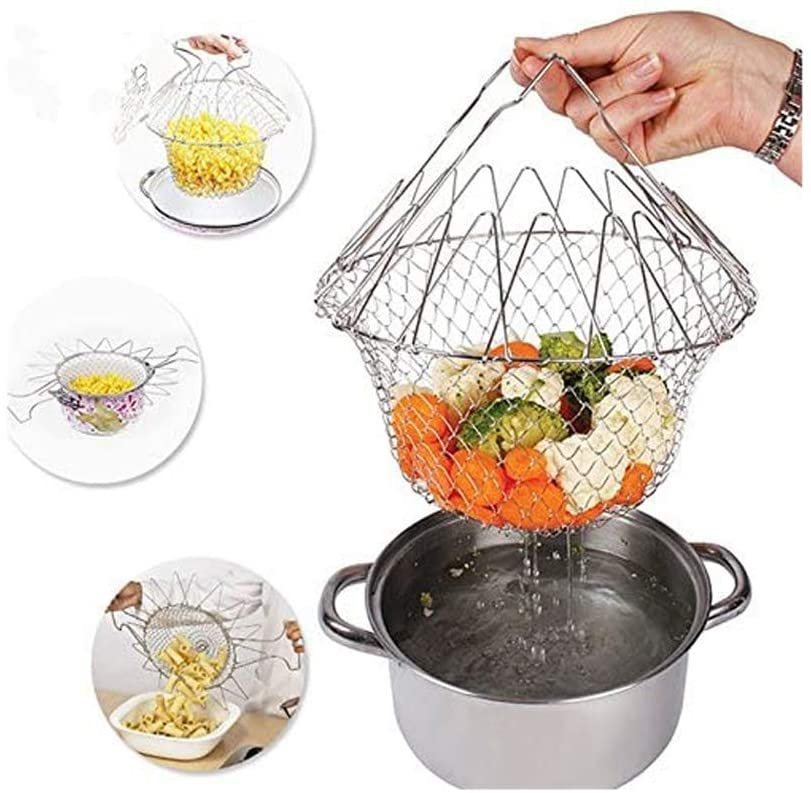 Multifunction Foldable Stainless Steel Cooking Basket for Fried Food, Washing Fruits, Vegetables