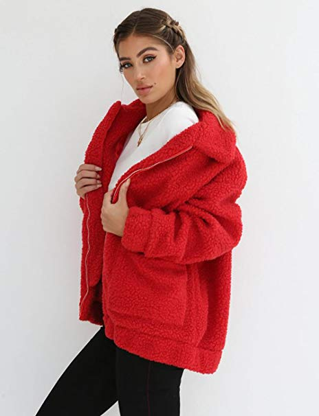 Women Casual Fleece Coat Faux Oversized Cardigan