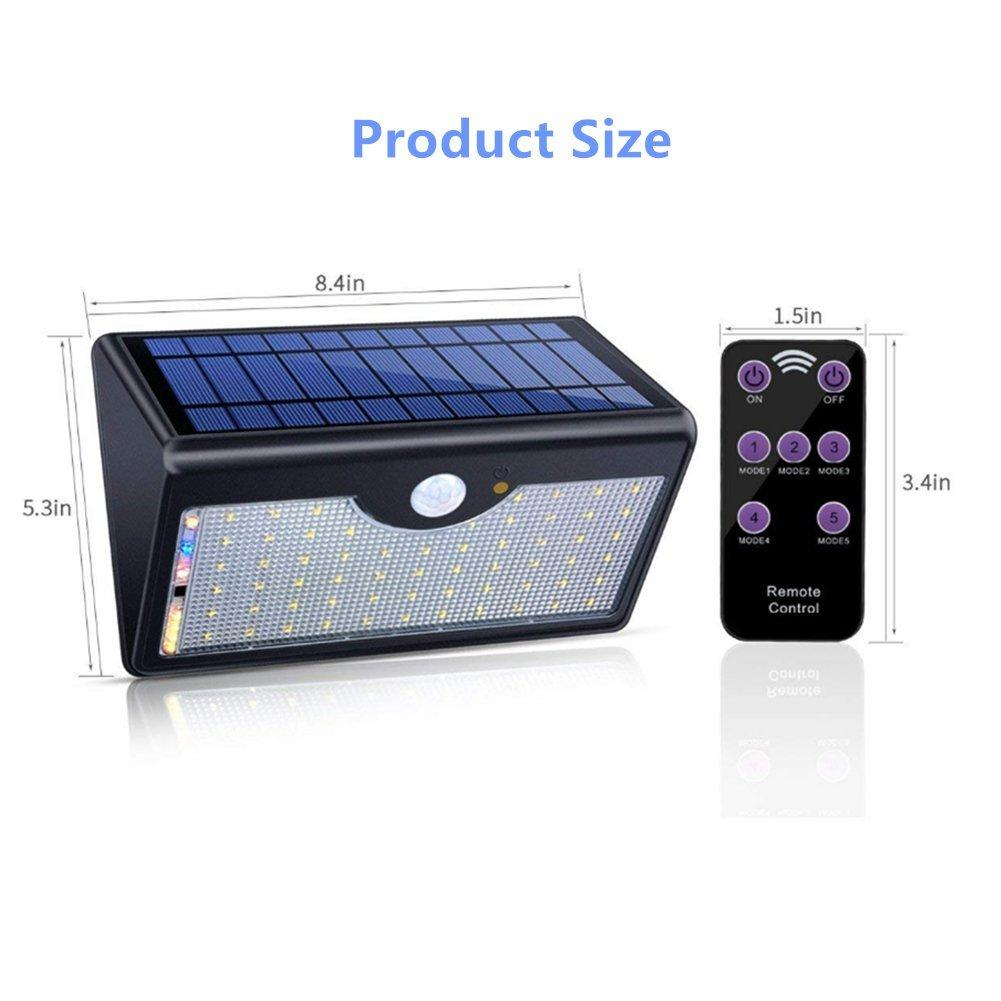 Solar Waterproof Wireless Motion Sensor Light 60 LED Wide Angle Solar Night Security Light with Remote Control - shopmeko