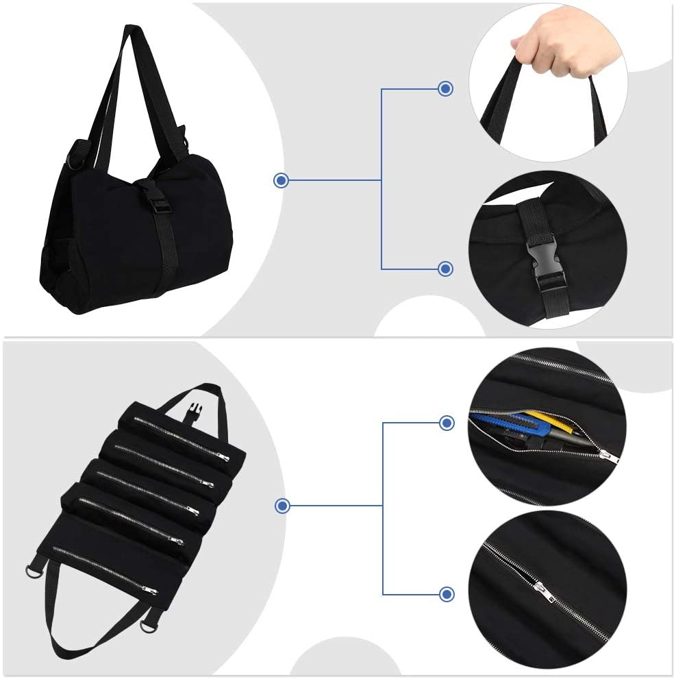 Multipurpose Tool Roll Up Bag With 5 Zipper Pockets Car Seat Back Storage