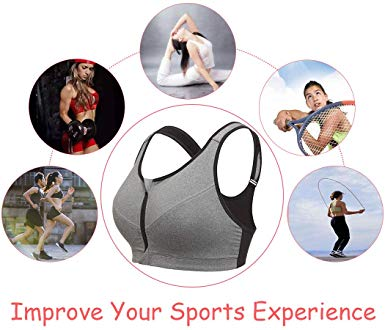 Women Zip Front Sport Bra Gym Bra