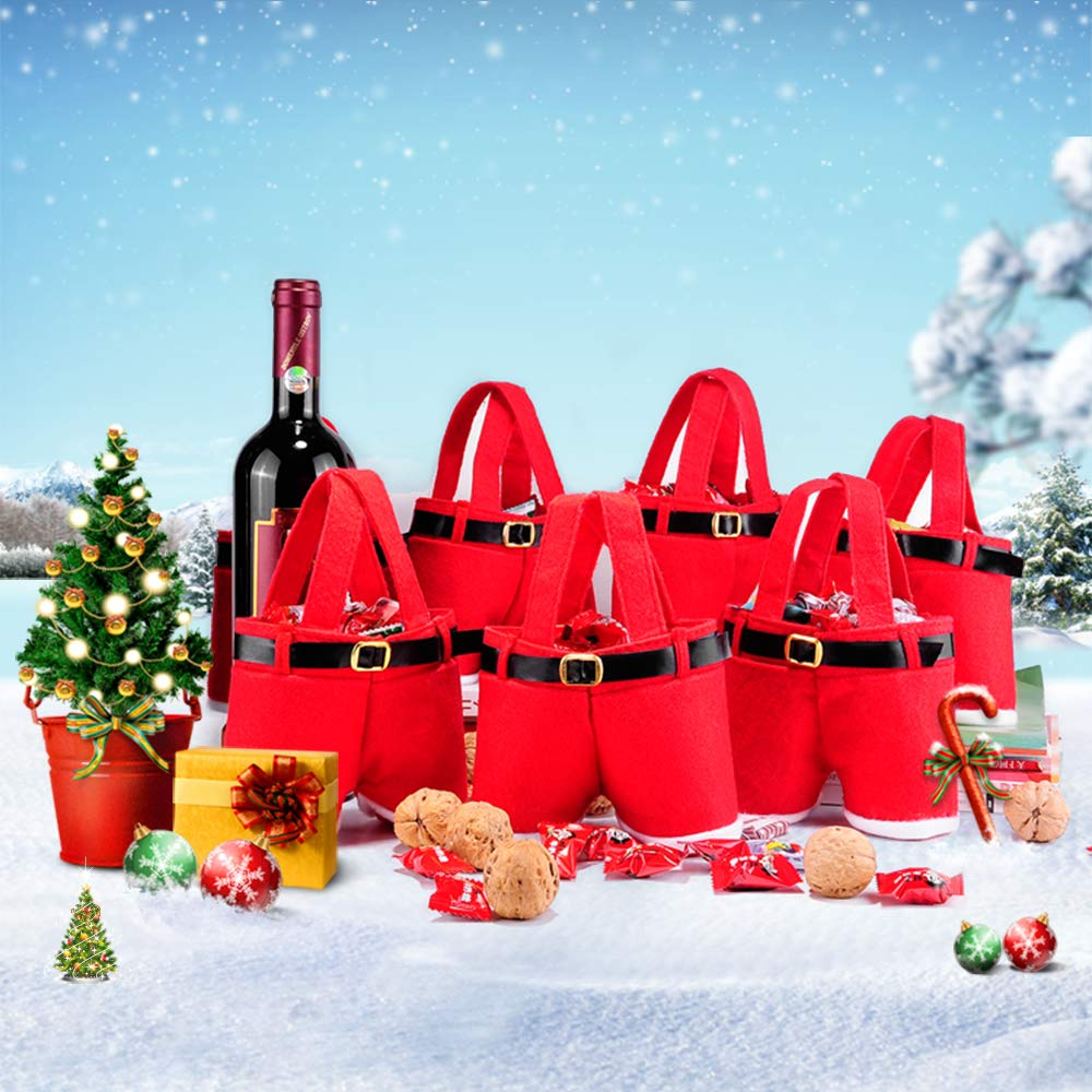 10pcs Christmas  Gift Bags Candy Bags Santa Pants