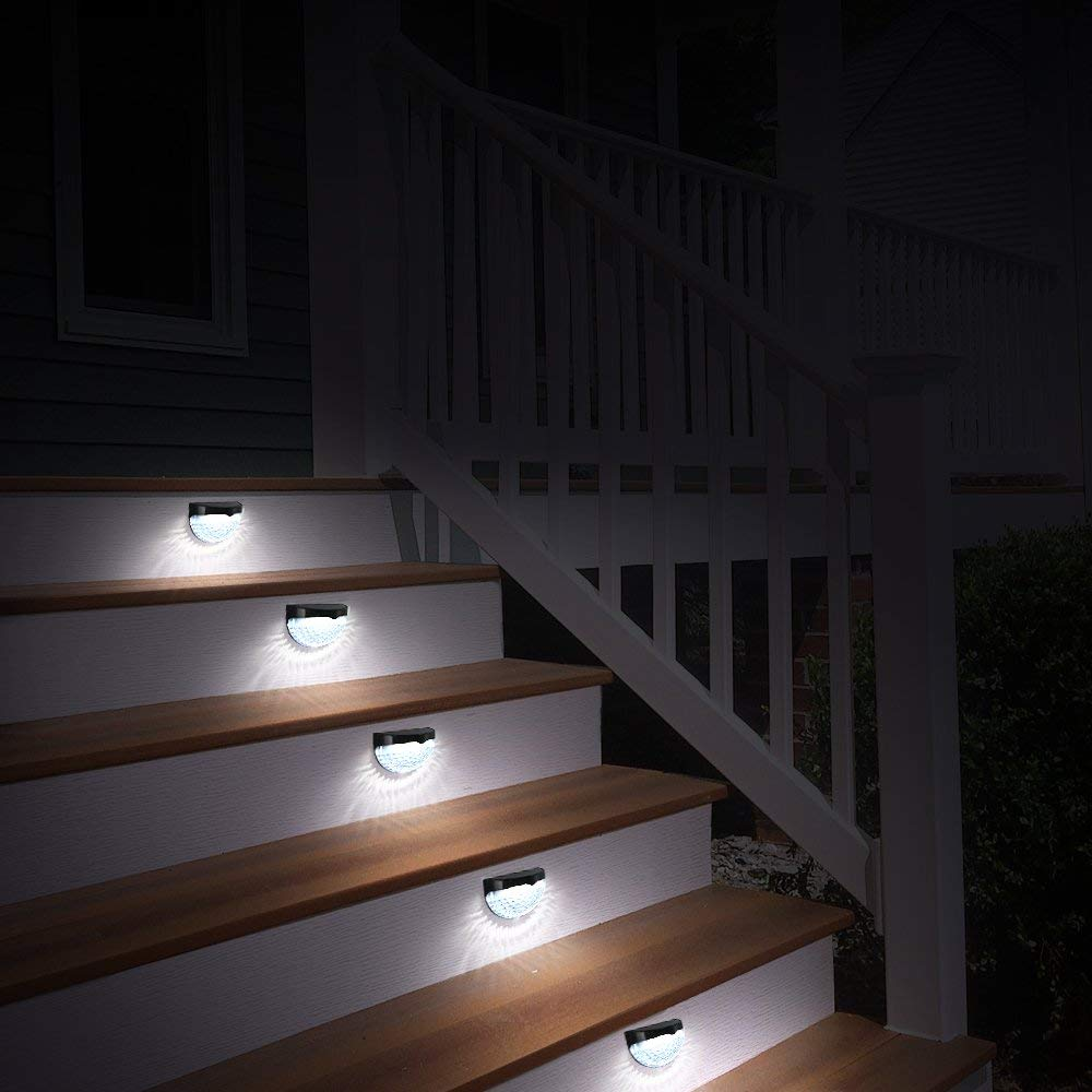 2/4 Pack Waterproof Solar Fence Lights Yard Garden Lamp