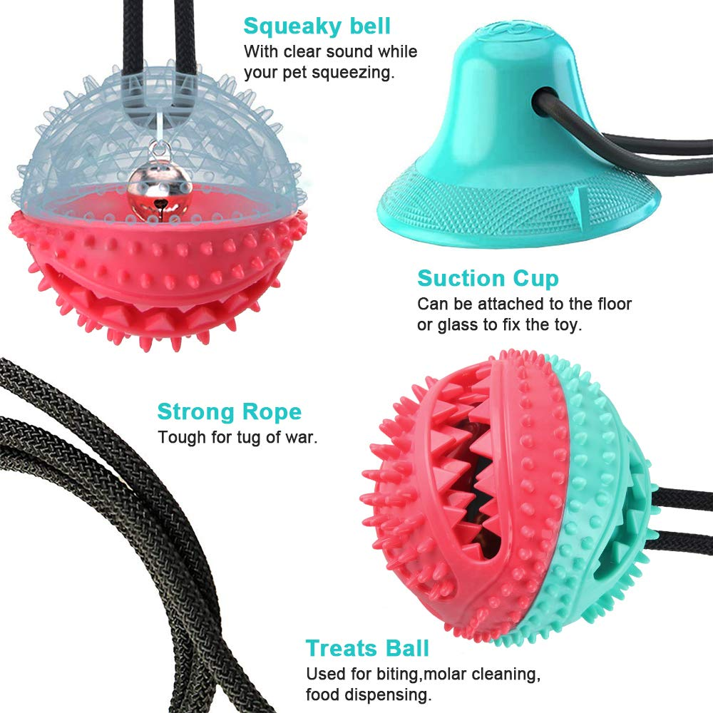 CHARMINER Upgraded Suction Cup Dog Toy Dog Rope Ball Pull Toy with Double Suction Cup Multifunction Molar Bite Toy Tug of War for Aggressive Chewers and Toothbrush