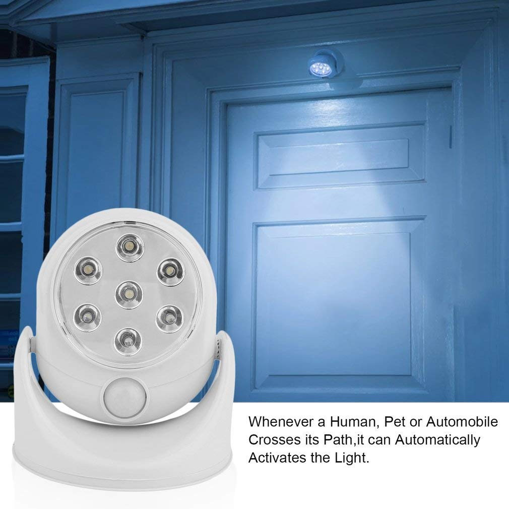 Motion Activated Cordless Induction Light Rotates 360 with 7 LED Bulb