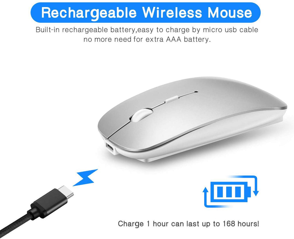 Rechargeable Bluetooth Wireless Mouse Dual Mode Slim Mouse with Laptop, PC, Windows Mac Android OS Tablet
