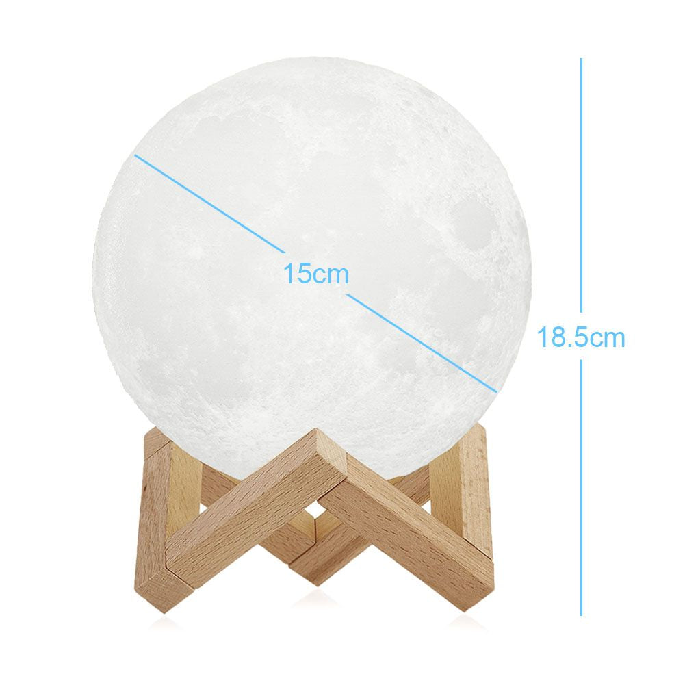 3D 16 Colour Rechargeable LED Moon Lamp Night Light with Remote Control