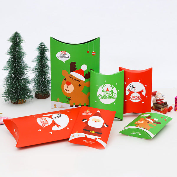 10 PCS DIY Christmas Candy Box Pillow Shape Cookies Packing