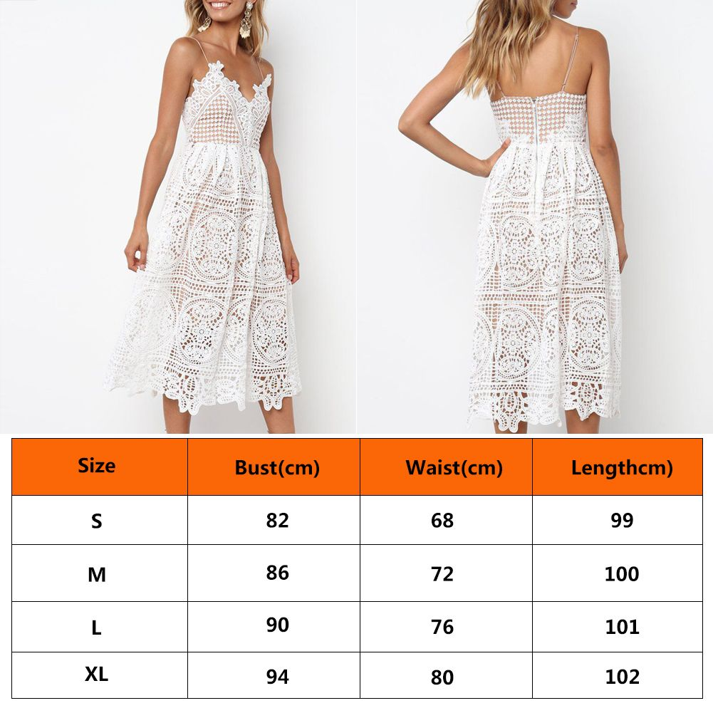 Hollow Out White Midi Lace Dress Sexy V Neck Strap