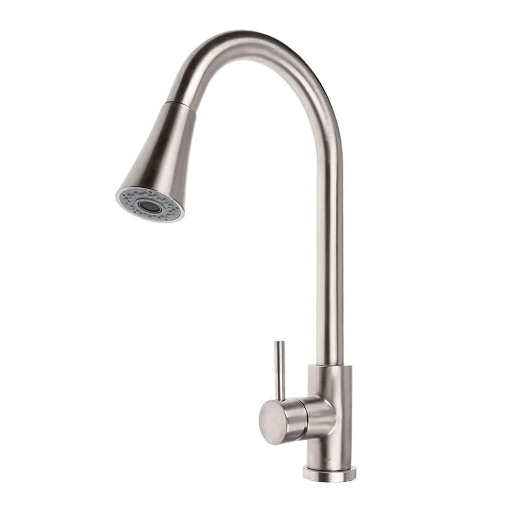 Brushed Kitchen Sink Faucet Pull Out Sprayer Swivel Mixer Tap - shopmeko
