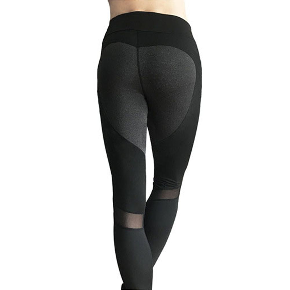 Sexy Heart Pattern Mesh Patchwork Leggins Sport Women Fitness Yoga Pants