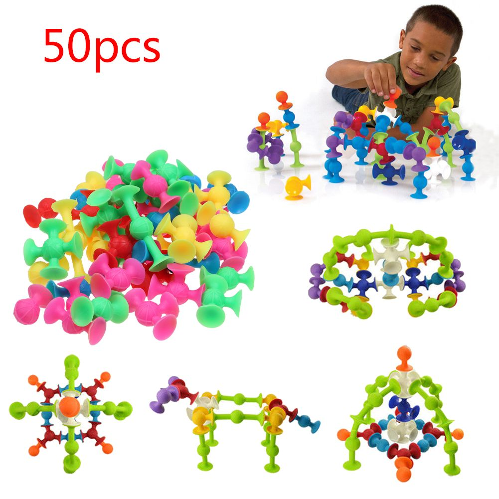 50PCS Kids Sucker Cup Puzzle Educational Construction Toy Building Blocks